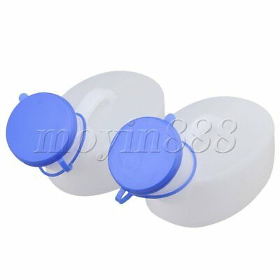 2 Pieces White 1000ML Portable Urine Pee Bottle for Male with Blue Cover