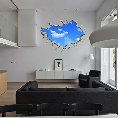 New Creative Blue Sky 3D Stereo Ceiling Living Room Bedroom Wall Sticker DH
