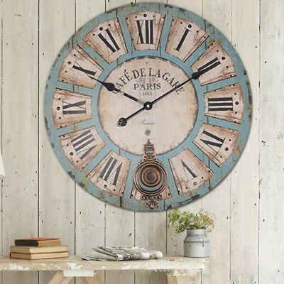EXTRA LARGE SHABBY CHIC WALL CLOCK 60CM ANTIQUE VINTAGE STYLE Diameter 60cm MR