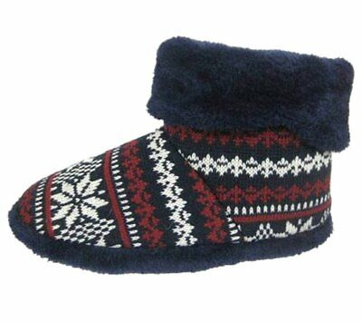 Mens Warm Slipper Boots Thick Fluffy Collar Socks Booties Size UK 9-10 Navy Blue