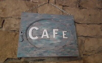 Old vintage 1950s enamel on copper letters CAFE mounted on old wood door & chain
