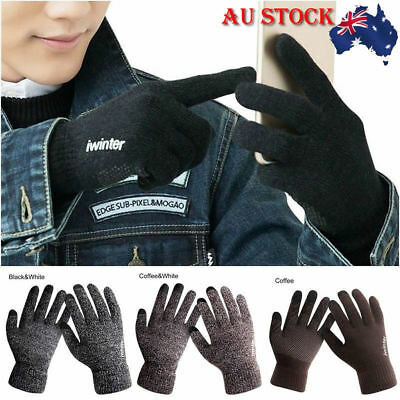 Men Women Knitted Gloves Touch Screen Winter Warm Fleece Lined Thermal Gloves
