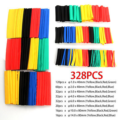 328PCS Assortment Heat Shrink Sleeve Electrical Cable Tube Tubing Wrap Wire Set