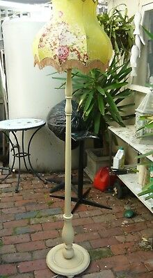 Vintage Standard Lamp - turned painted wood - lovely floral shade - good cond