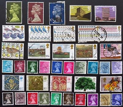 Great Britain Uk England Stamp Collection Of 40 Used Stamps All Unhinged