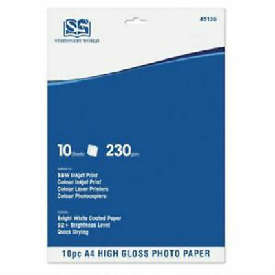 10 Sheets A4 Heavy 230 Gsm Digital Photo Paper High Gloss Glossy Laser Printer