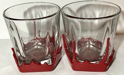 Set of 2 Makers Mark Red Wax Dip Bourbon Whiskey Cocktail Rocks Lowball Glasses