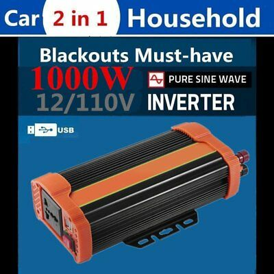 1000 peak pure sine wave 12v DC to 220v AC power inverter car boat camping GX