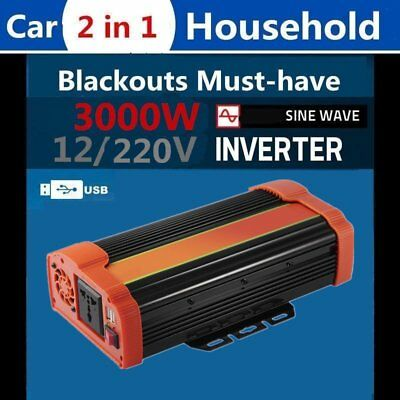 1500/3000W Peak  Sine Wave Power Inverter DC 12V to AC 220V Car Caravan GX