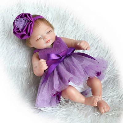 """Miniature 10"""" Lovely Realistic Reborn Baby Doll Silicone Full Body Sleeping Girl"""
