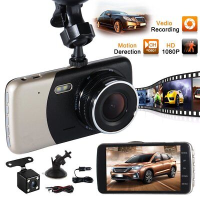 4'' Dual Lens Camera HD 1080P Car DVR Vehicle Video Dash Cam Recorder G-SensoLD