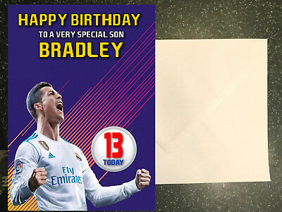Fifa 18 Ronaldo Large A5 Personalised Birthday Card Son Brother