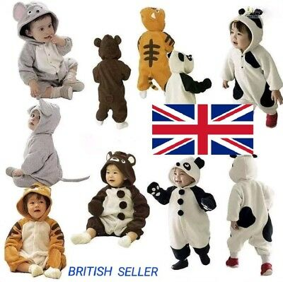 BABY BOY GIRL TODDLER ANIMAL ONESIE PRAM SUIT ALL IN ONE 3-7M 8-12M (not gerber)