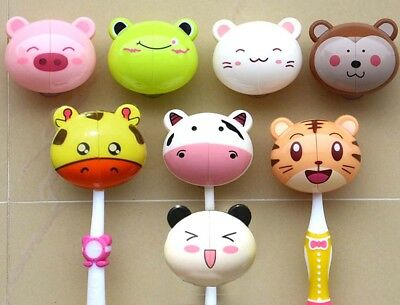 Kids Cartoon Animal Suction Sucker Cup Cover Toothbrush Wall Holder 8 Designs