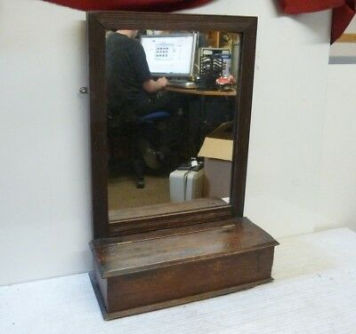 Antique Oak Wall Hanging Hall Mirror with Glove Box