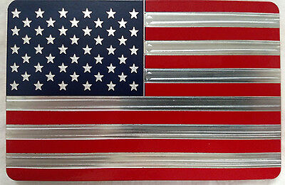 Red/Blue AMERICAN FLAG, Billet Aluminum Hitch Cover Plug,4x6 Made In USA