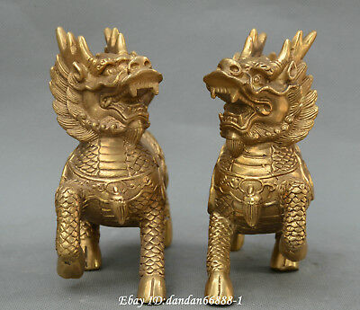 Collect Chinese fengshui Bronze beast kylin unicorn kylin auspicious Statue pair