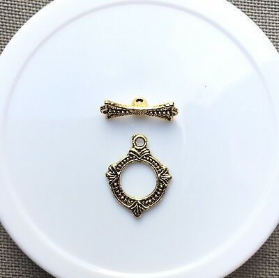 "Toggle/Clasp, Antique Gold-Plated ""Pewter"", 15x14mm. 4 sets per pack."