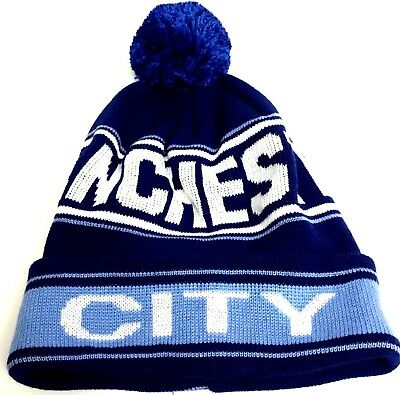 Manchester City Hat Football Knitted Pom Pom Bobble Hat Gifts
