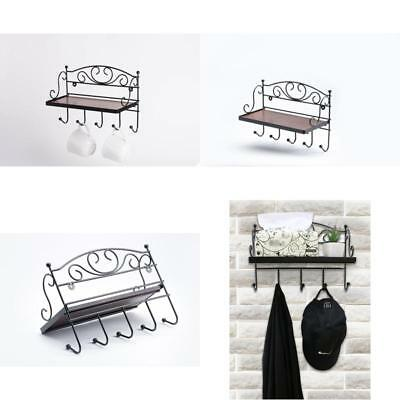 JustNile Decorative Antique Wall Mounted Solid Wooden Shelf with 5 Hanging Hooks