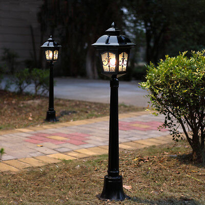 Vintage Metal Outdoor Pillar Lantern 1 Lamp Landscape Lawn Light in Black/Brass