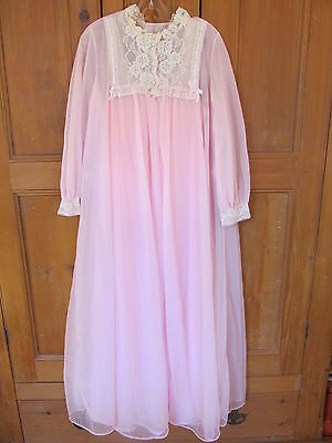 Vtg Lingerie Van Raalte Pink Peignoir Nylon Chiffon Nightgown Set - Small