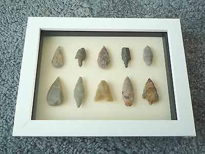 Neolithic Arrowheads in 3D Picture Frame, Authentic Artifacts 4000BC (0438)