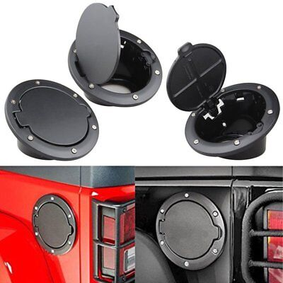 Black Fuel Filler 4-Doors 2-Doors Cover Gas Tank Cap For 07-17 Jeep Wrangler AD