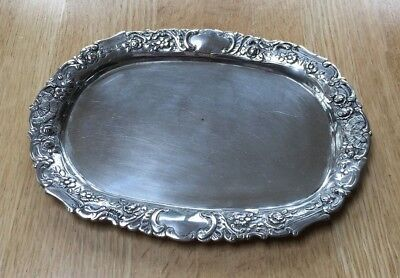 800 Silver  Fluted Oval Tray Hallmarked 218 Grams with Detail