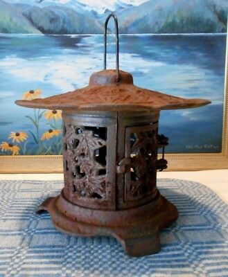 "Cast Iron Japanese Garden Lantern with Maple Leaf Design 9"" tall plus handle"