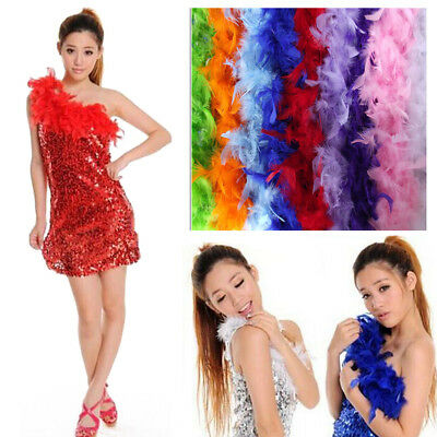 40g 2M Feather Boa Strip Fluffy Craft Costume Wedding Party Decor - Multi-Color