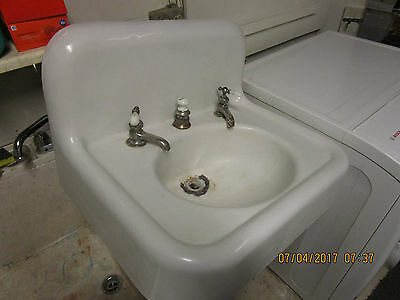 Vtg 1900 Kohler Cast Iron/Porcelain  Wall Bath Sink, w/orig Kohler Wall Mount