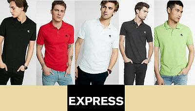 NWT EXPRESS  MEN`S SHIRT POLO Stretch Contrast Lion Pique Black,Yellow,White,Red