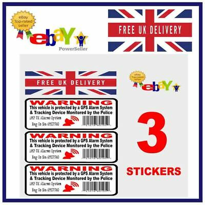 3 x GPS TRACKING Security stickers Car Motorbike Scooter Motorcycle Van 70mm