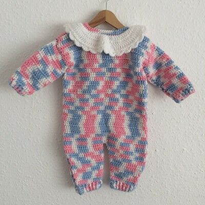 Vintage Baby Handmade Crochet Knitted Romper Babygrow Playsuit 80s 6-12 M