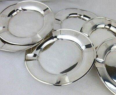 American sterling silver cigar ashtrays 6 monogram B hand tooled pattern 1920s