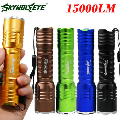 15000Lumen Zoomable T6 LED Flashlight Torch Lamp 18650 Waterproof 3modes Outdoor