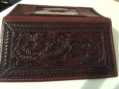 Hand Tooled Western  Cowhide  Leather Checkbook  And Id Cover Pristine