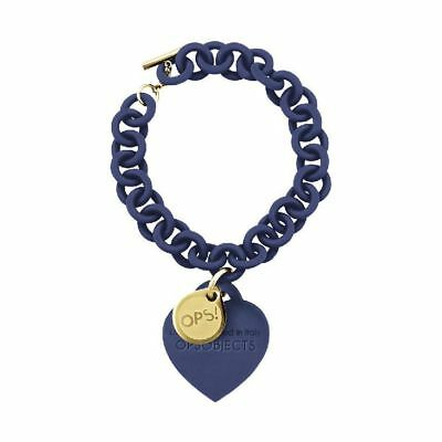 Bracciale Pendente Donna OPS OBJECTS OPSBR-15 Cuore Silicone Blu