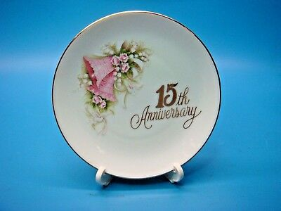 "ENESCO 15th Wedding Anniversary 4.5"" ceramic plate Pink Bells & Doves 120456"