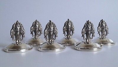 Siam Sterling Silver Set of 6 Name/Menu Place Holders -Three Headed Elephant