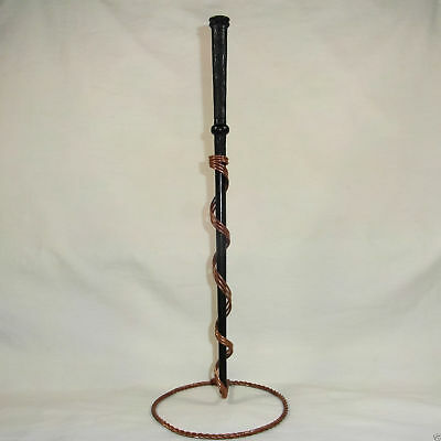 """14.5"""" Captains Hand Turned Carved Mahogany Wood Magic Wizard Wand w/ Velvet Bag"""