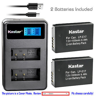 Kastar Battery and LCD Slim USB Dual Charger for Canon LP-E17 EOS Rebel T6i 760D