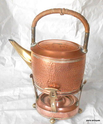 Vintage German copper and brass picnic kettle and burner early 1900's