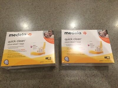 New In Box Medela Quick Micro Steam Bags For Cleaning Bottles & Parts Lot Of 10