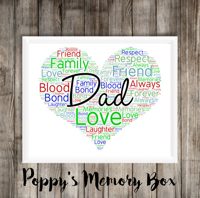 Dad Daddy Personalised Word Art Birthday Father S Day Gift Print Any Colours Son