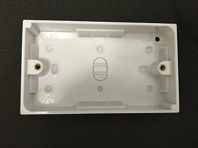Surface Mounted Back Box 25mm Wall Pattress Double 2 Gang Electrical Socket