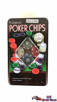 Professional 100Pcs Texas Hold'em Holdem Poker Chip Set Card Game Party CK80202