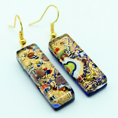 Gold and Multi-Coloured Handmade Authentic Murano Venetian Glass Drop Earrings