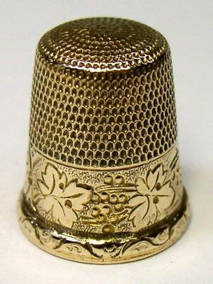 Antique Simons Bros. Gold Thimble Grapes & Leaves  Raised Rim Monogram  C 1900s